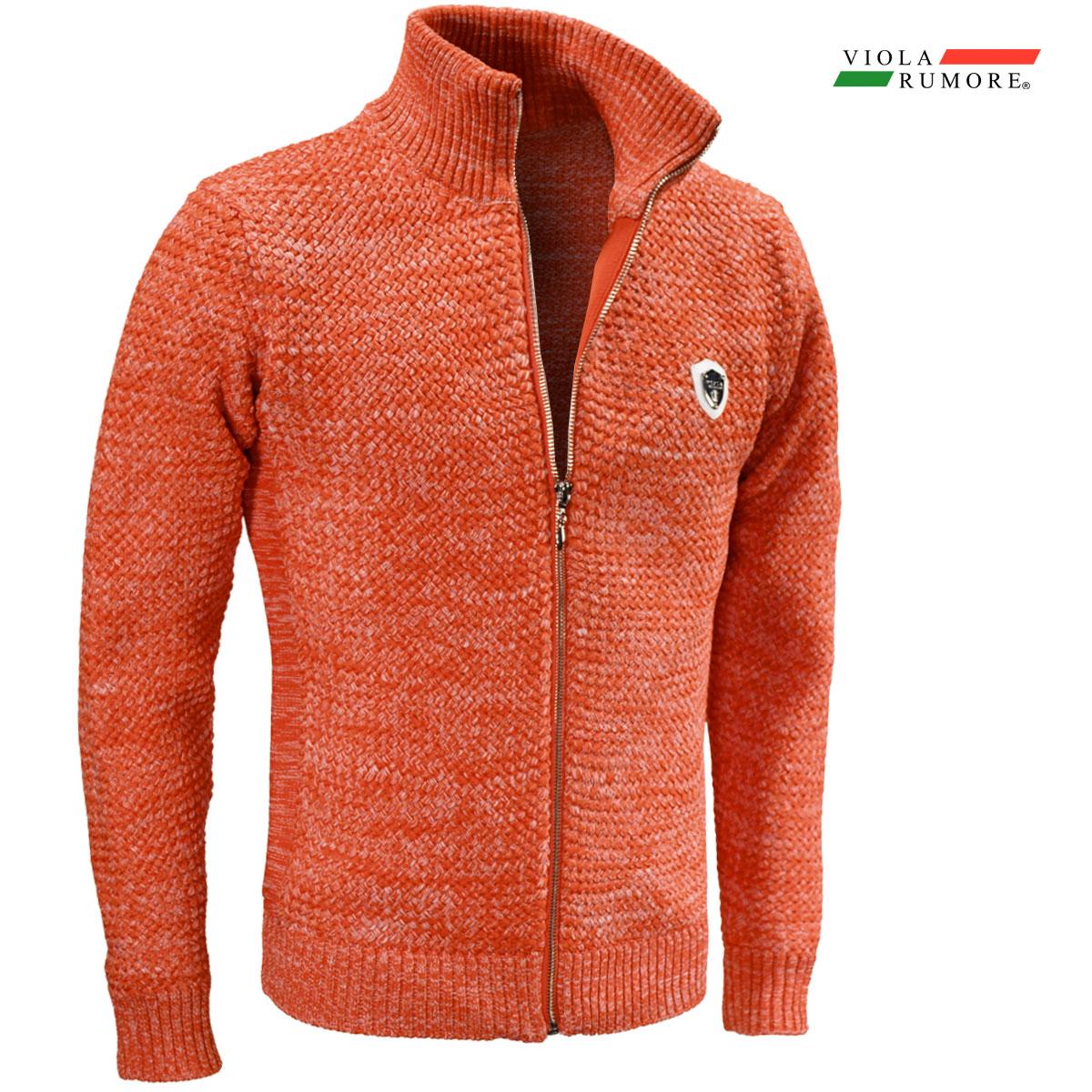 VIOLA rumore ヴィオラ ビオラ ニット フルジップアップ メンズ バスケット編み ニットジャケット 5ゲージ mens(オレンジ橙)