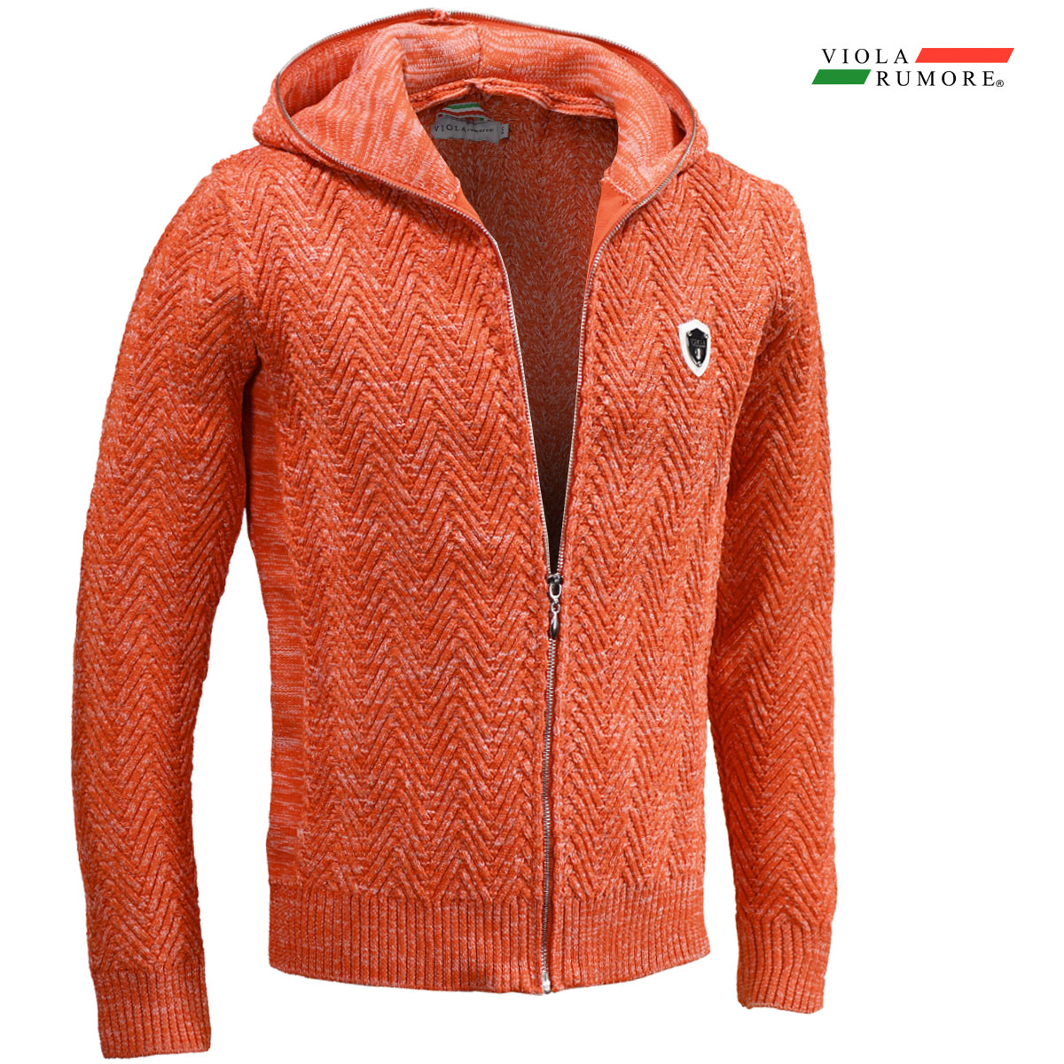 VIOLA rumore ヴィオラ ビオラ ニット フルジップアップ メンズ ヘリンボーン編み ニットジャケット 5ゲージ パーカー mens(オレンジ橙)