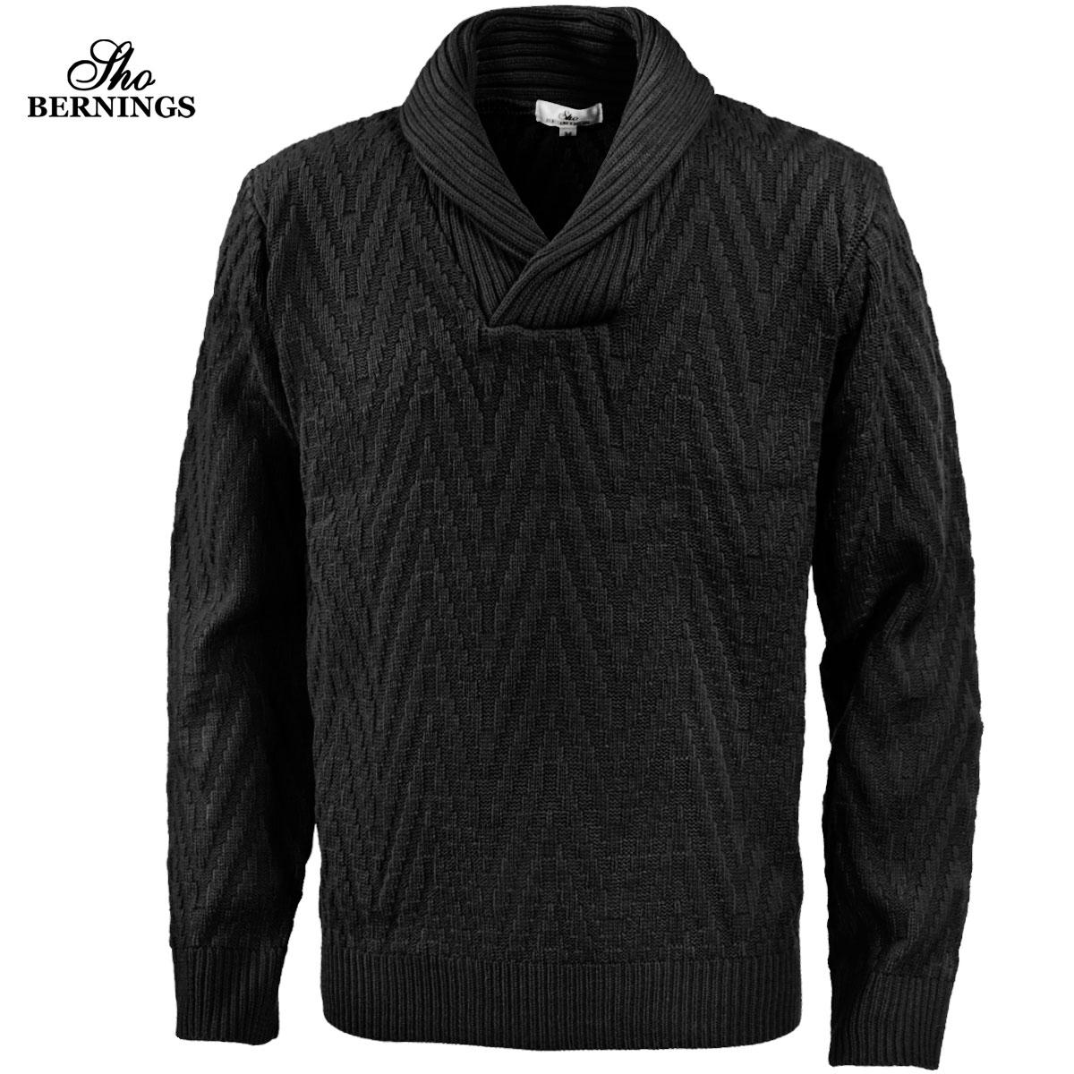 ニット ヘリンボーン柄 ショールカラー メンズ セーター 長袖 ジャガード ニットセーター mens(ブラック黒)