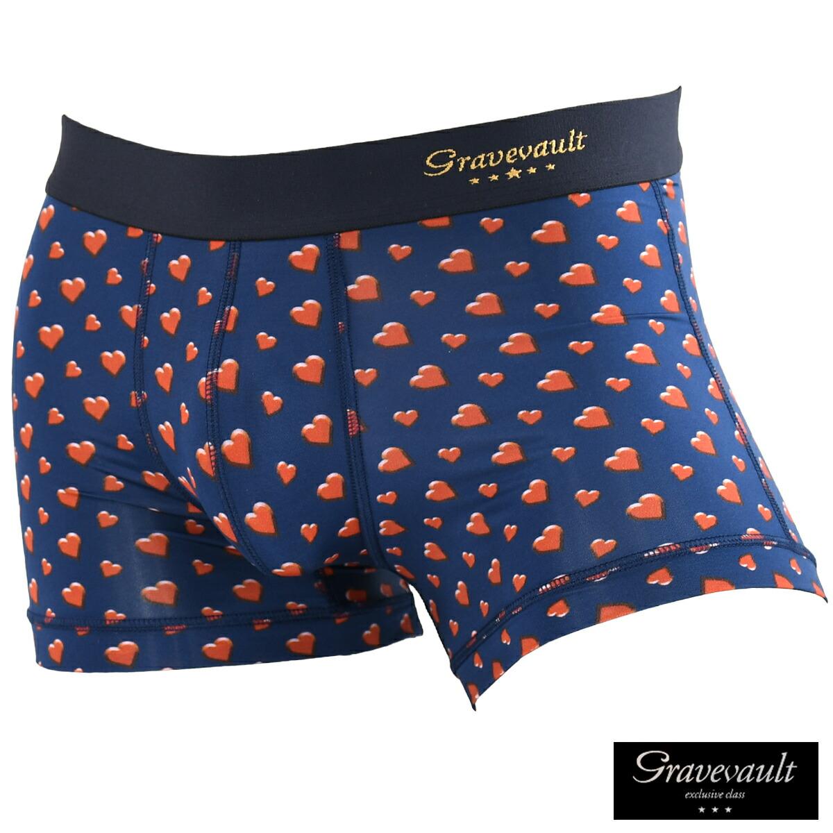 GRAVEVAULT グレイブボールト ボクサーパンツ ショート ハート パンツ 下着 メンズ mens(ネイビー紺レッド赤)