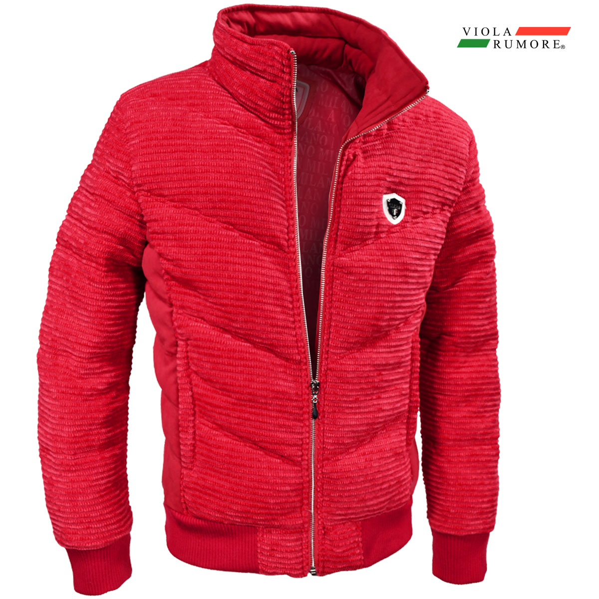 VIOLA rumore ヴィオラ ビオラ 中綿ジャケット モール素材 メンズ 切り替え アウター フルジップジャケット mens(レッド赤)