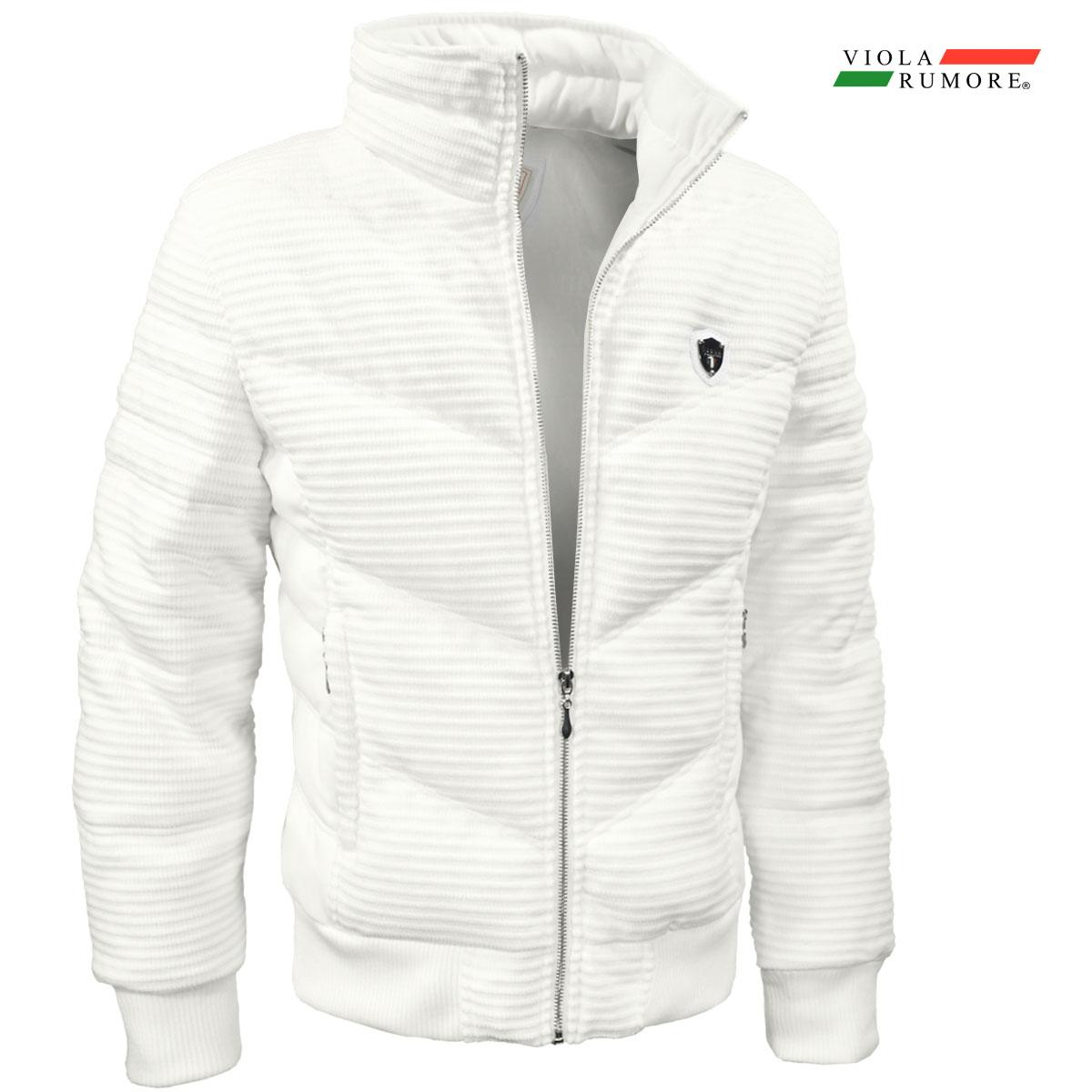 VIOLA rumore ヴィオラ ビオラ 中綿ジャケット モール素材 メンズ 切り替え アウター フルジップジャケット mens(ホワイト白)