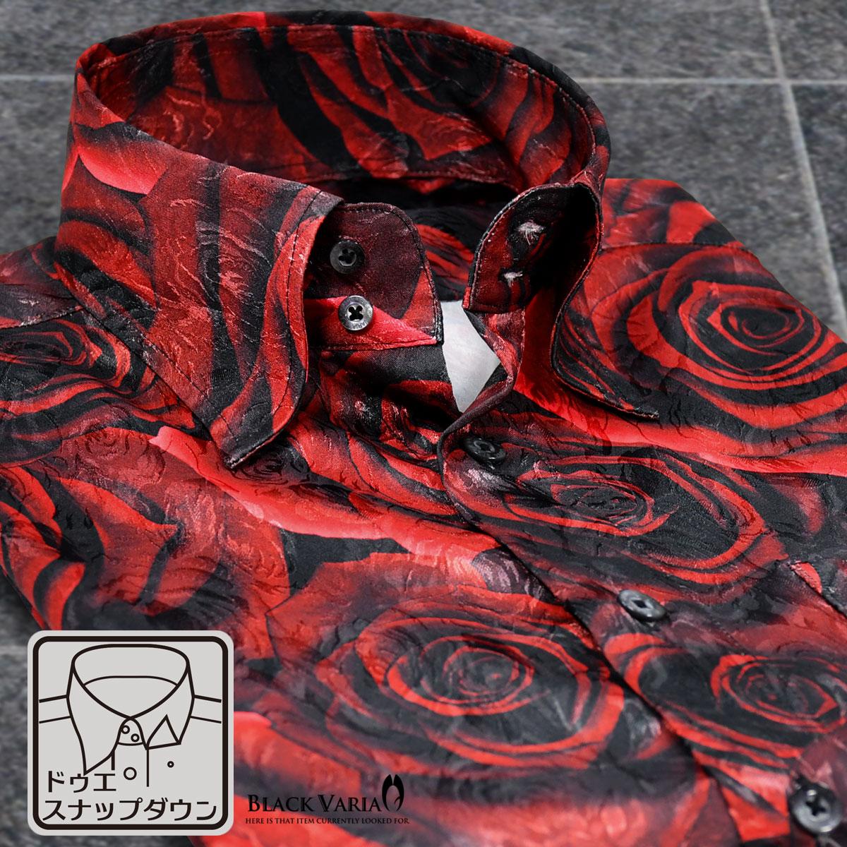 サテンシャツ ドレスシャツ 薔薇 大柄 ドゥエボットーニ スナップダウン 日本製 パーティー ジャガード メンズ mens(レッド赤)