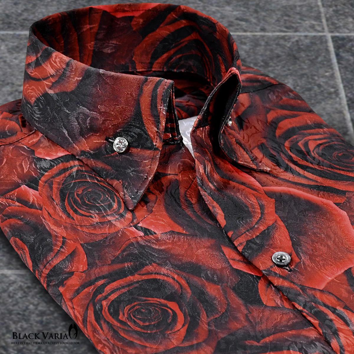 サテンシャツ ドレスシャツ スキッパー 薔薇 日本製 メンズ ボタンダウン スリム ジャガード パーティー mens(レッド赤)