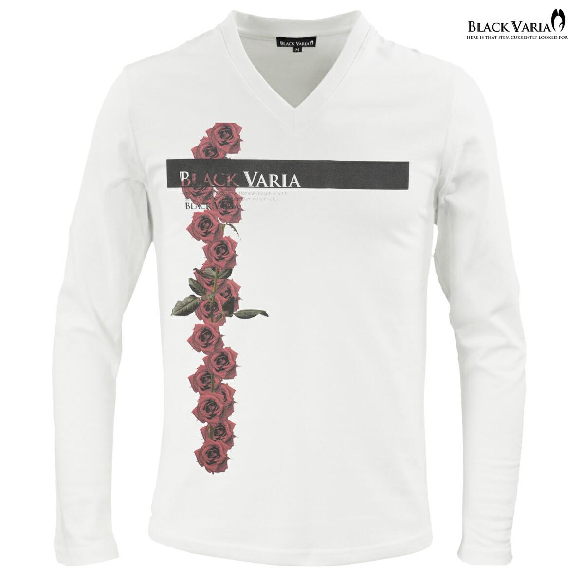 Tシャツ 長袖 ボックスロゴ バラ 花柄 薔薇 Vネック メンズ(ホワイト白)