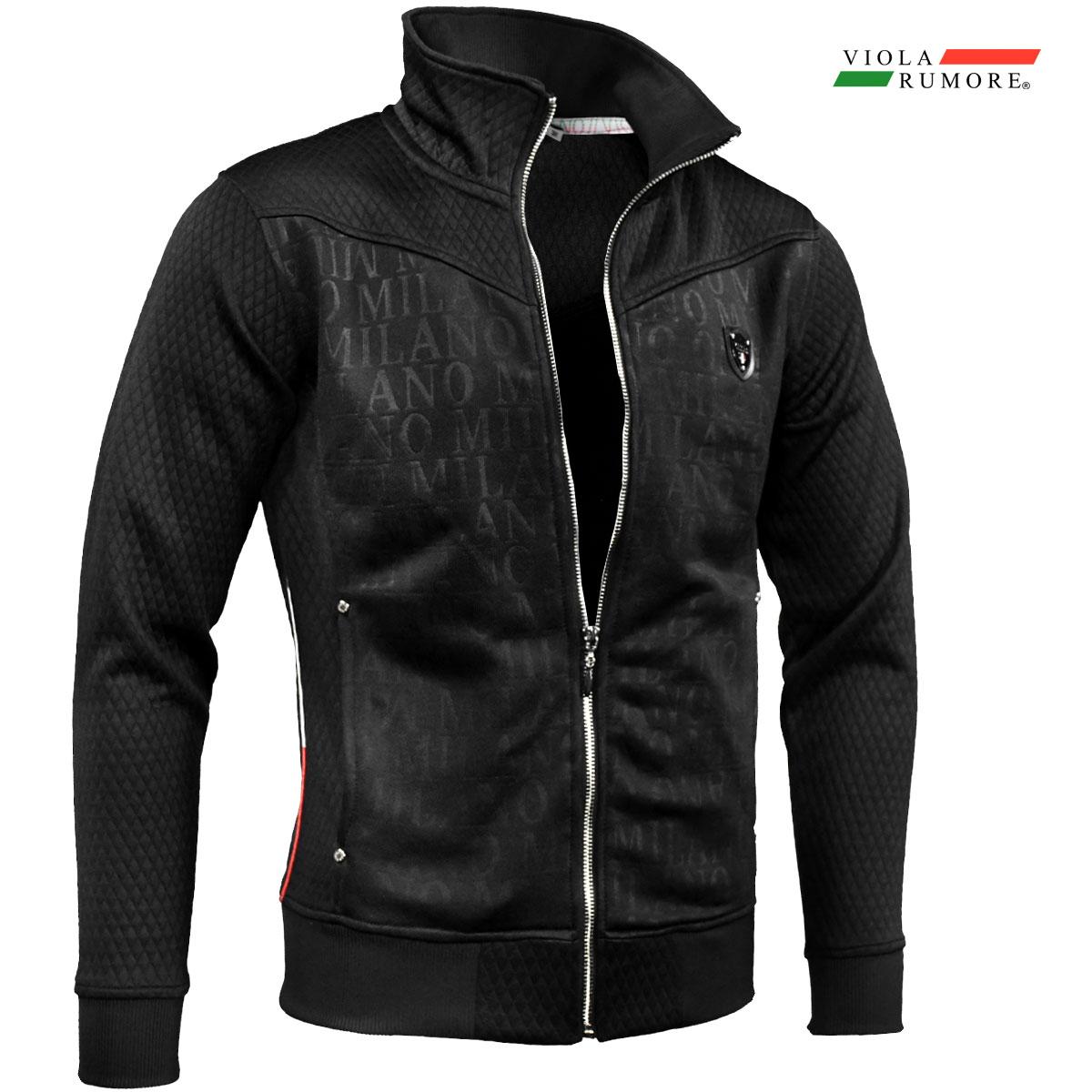 VIOLA rumore ヴィオラ ビオラ ジップアップジャケット メンズ スタンドカラー エンボス 長袖 スウェット mens(ブラック黒)