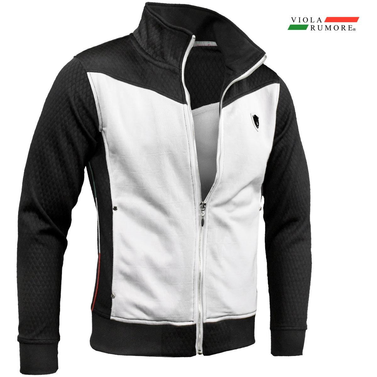 VIOLA rumore ヴィオラ ビオラ ジップアップジャケット メンズ スタンドカラー エンボス 長袖 スウェット mens(ブラック黒ホワイト白)