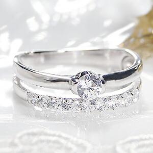 pt900 テンダイヤモンド 2連 リング
