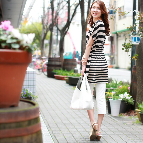 REAL CUBE mixture horizontal stripe tunic