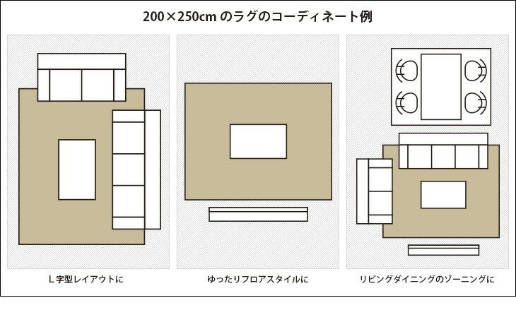 200×250cm程度のラグのコーディネート例