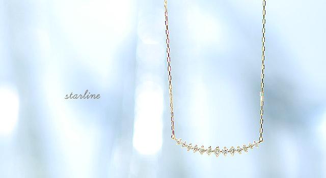 【K18ダイヤモンドネックレス star line】[wish→ K18 18金 ネックレス ペンダント  ダイヤ ダイヤモンド ダイアモンド ダイア プレゼント ギフト 贈り物]