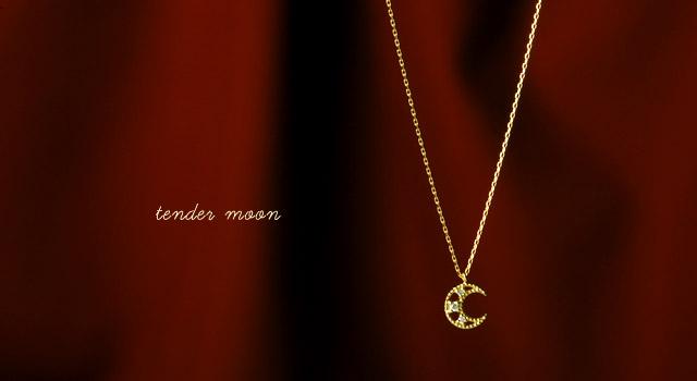 K18 ダイヤモンドネックレス tender moon