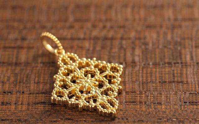 K18 charm K18チャーム rhombus lace