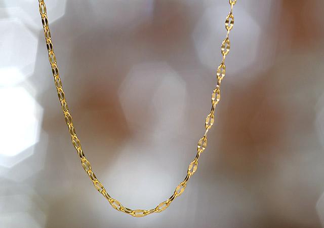 K18 ロングネックレス foliole chain 60