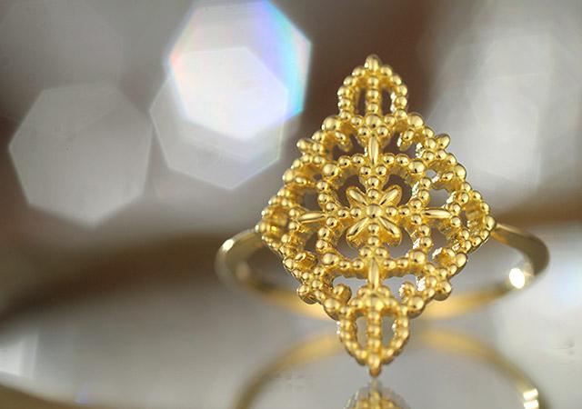 K18ring K18リング K18 ring rhombus lace
