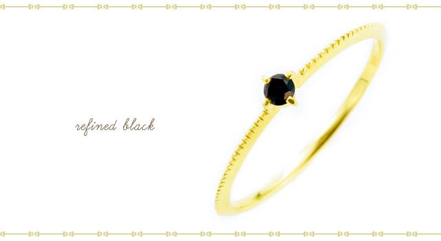 K18 black diamond ring K18ブラックダイヤモンドリング refined black