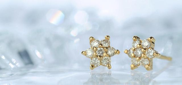 K18 diamond pierced earrings K18 ダイヤモンド ピアス dia flower
