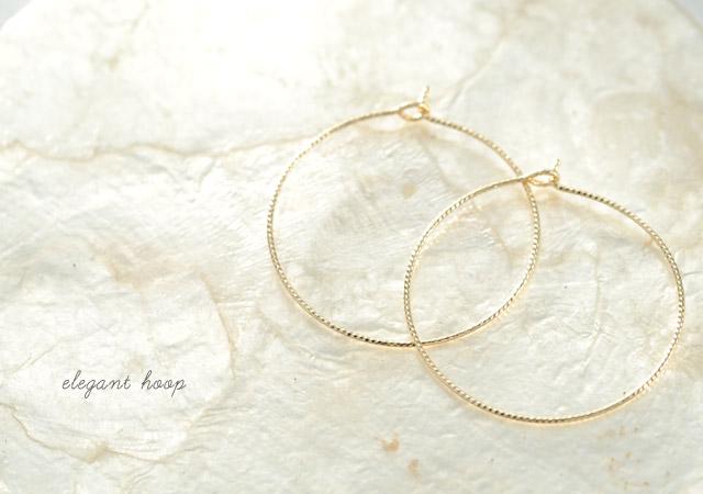 K18 pierced earrings  K18 フープピアス elegant hoop 30
