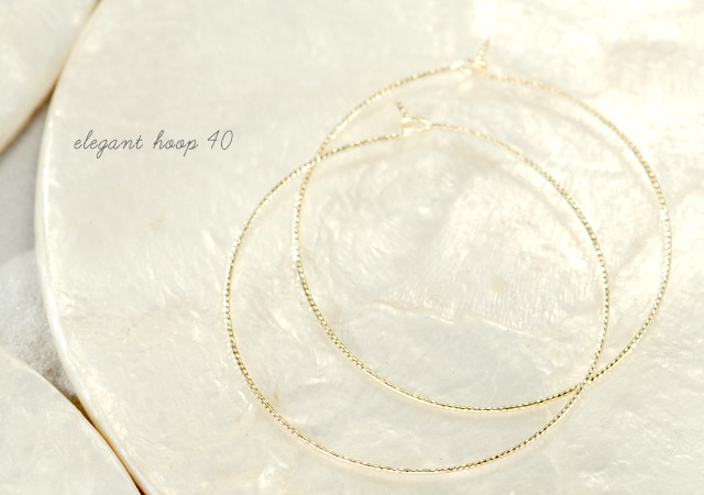 K18 pierced earrings  K18 フープピアス elegant hoop 40