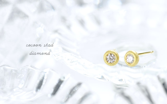 K18 birthstone pierced earrings K18 誕生石 ピアス cocoon stad diamond
