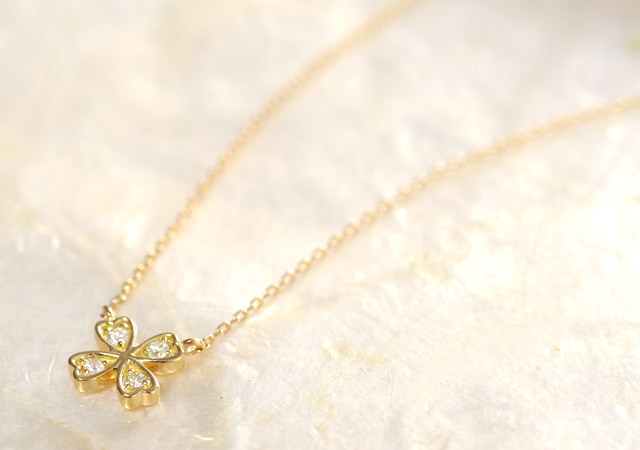 K18 diamond necklace K18 ダイヤモンド ネックレス tender clover