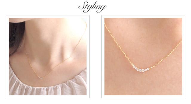 K18 diamond necklace K18 ダイヤモンド ネックレス tender line