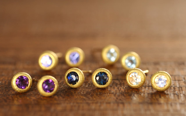 K18 birthstone pierced earrings K18 誕生石 ピアス cocoon stad