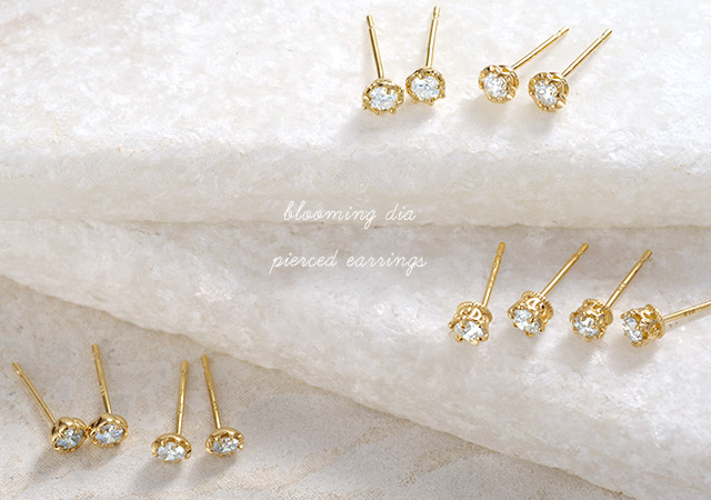 K18 diamond pierced earrings blooming dia