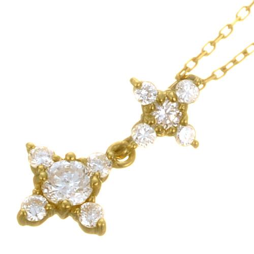 K18 diamond necklace K18 ダイヤモンド ネックレス swing flower