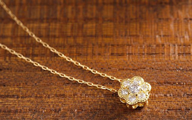 K18 diamond necklace K18 ダイヤモンド ネックレス classical flower