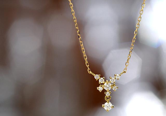K18 diamond necklace K18 ダイヤモンド ネックレス asterism