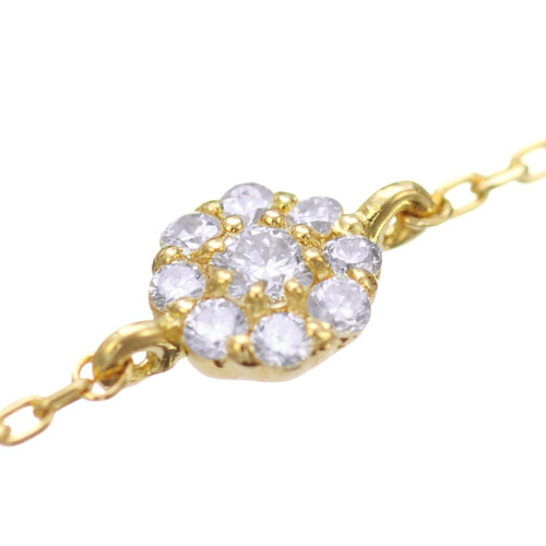 K18 diamond bracelet tiny floral