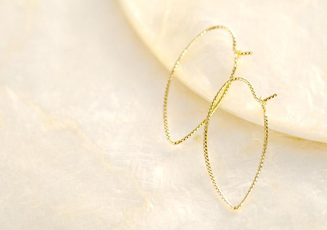 K18 ピアス  elegant leaf hoop S
