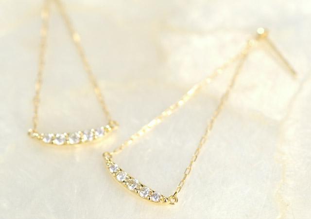 K18 diamond pierced earrings sheen