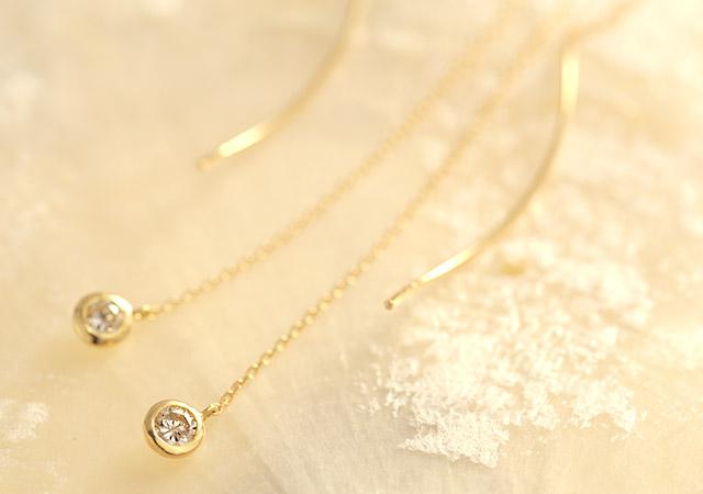 K18 diamond pierced earrings K18 ダイヤモンド ピアス liberty
