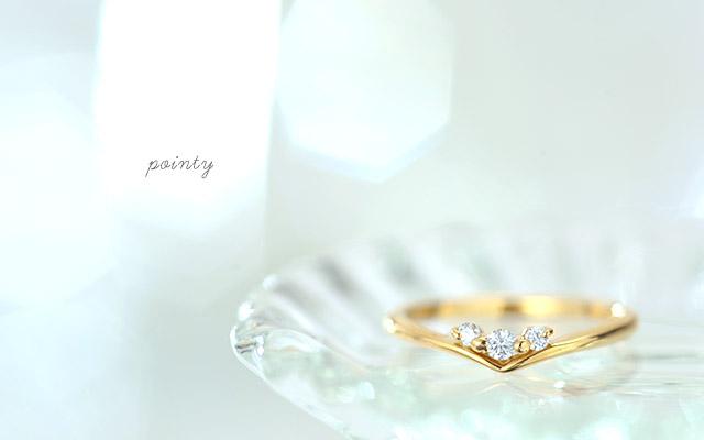 K18 ダイヤモンド ピンキーリング pointy