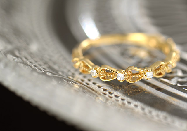 K18 ダイヤモンド ピンキーリング weave