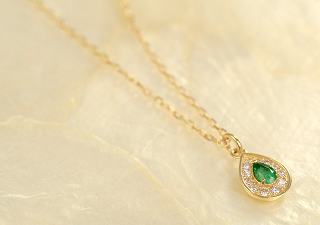 K18 birth stone necklace K18 誕生石 ネックレス rise
