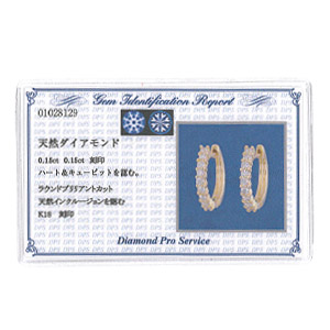 K18ダイヤモンドピアス  angel arrow hoop 0.3ct