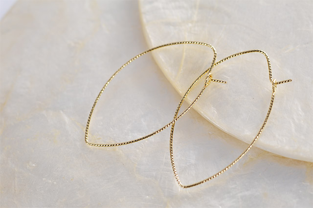 K18 ピアス  elegant leaf hoop L