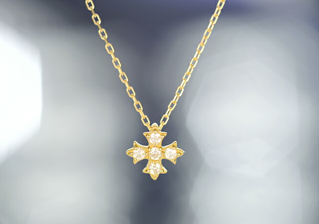 K18 diamond necklace Malta cross