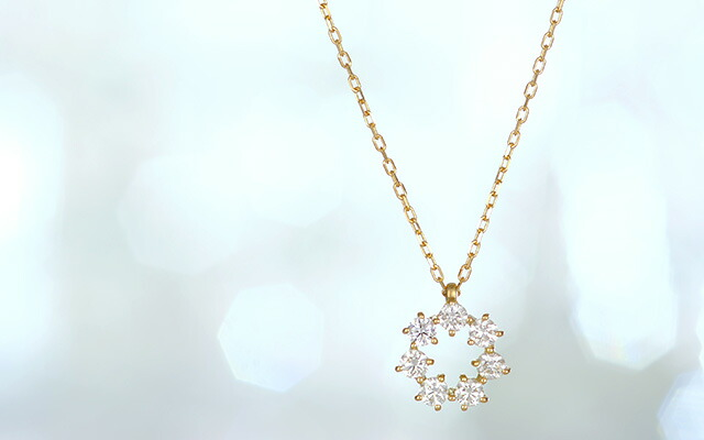 K18 diamond necklace seven dia