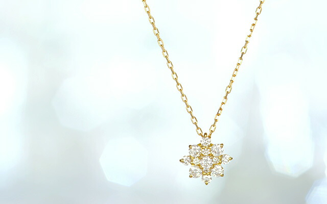 K18 diamond necklace big glint