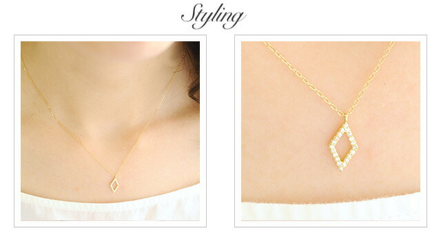 K18 diamond necklace rhombus dia