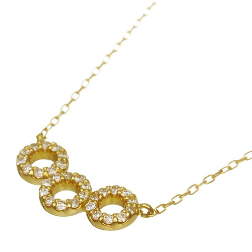K18 diamond necklace three rings