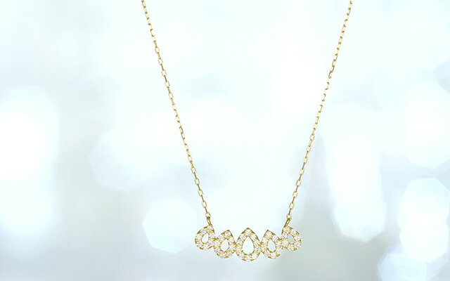 K18 diamond necklace five drops