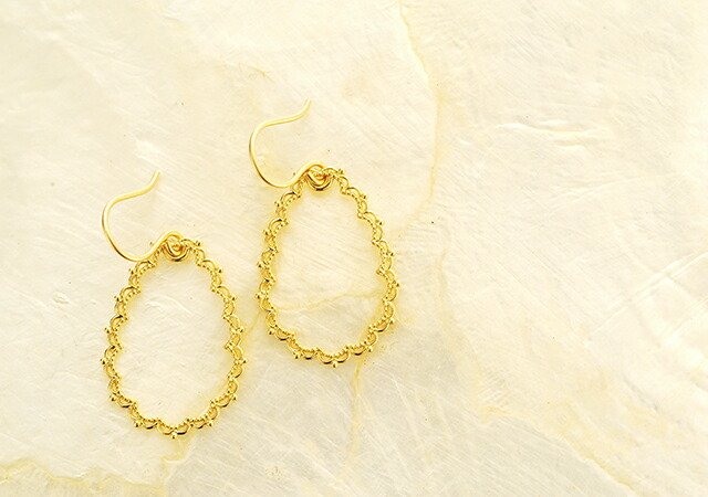K18 pierced earrings drop lace