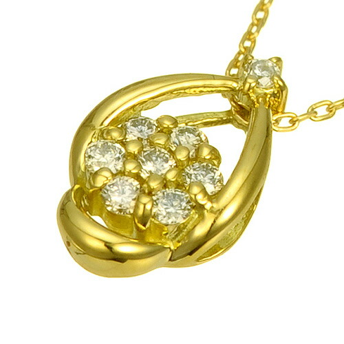 K18ダイヤモンドネックレス flower drop