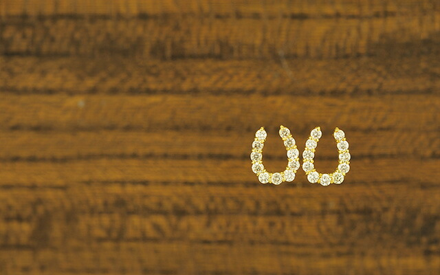 K18ダイヤモンドピアス horse shoe