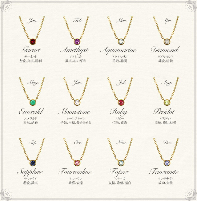 K18 birth stone necklace K18 誕生石 ネックレス iberty station